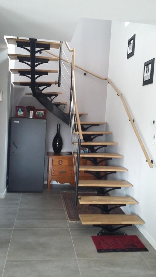 Escalier 1/4 tournant acier et bois Le relecq Kerhuon